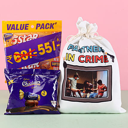 Chocolate with Photo Printed Bag Online