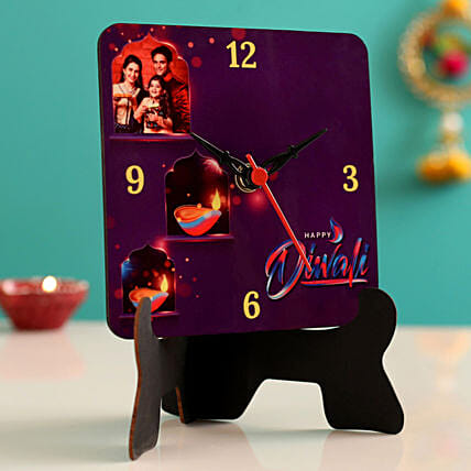 Personalised Happy Diwali Table Clock- Hand Delivery:Personalized Diwali Gifts