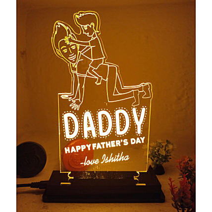 Personalised Happy Fathers Day Engraved LED Lamp:All Personalised Gifts