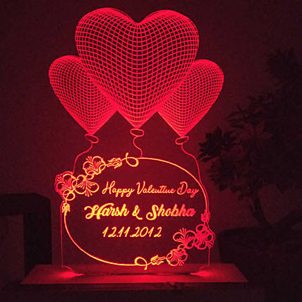 customised heart red led night lamp online