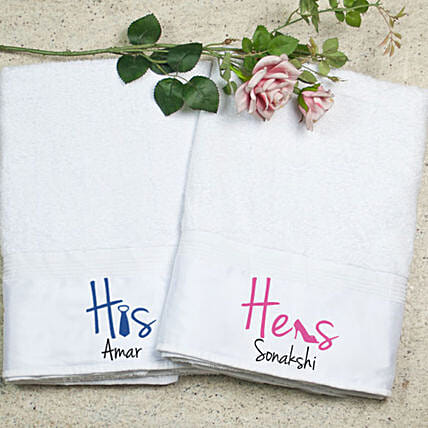Personalised His Hers Bath Towel Set:Personalised Towels