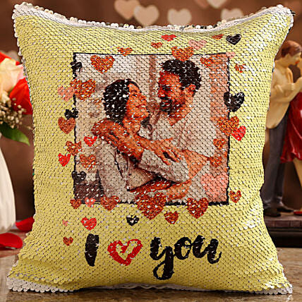 vday theme personalised cushion