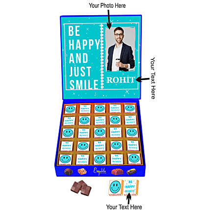 Personalised Just Smile Chocolate Gift Box:Friendship Day Personalised Chocolates