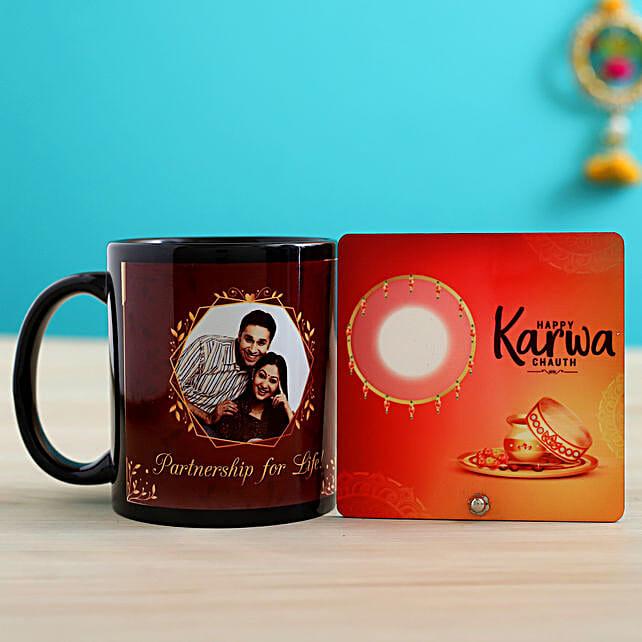 personalised karwa chauth black mug n table top online:Karwa Chauth Combos