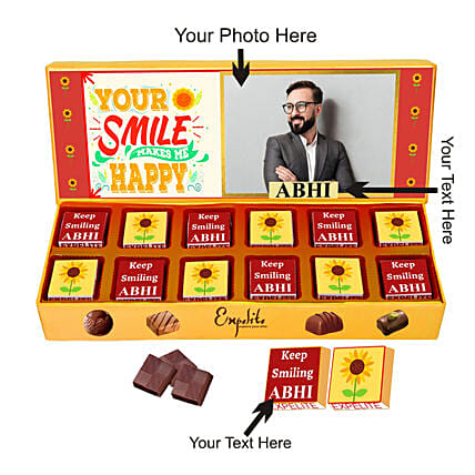 Personalised Keep Smiling Chocolate Gift for Him