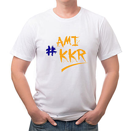 Personalised KKR White Round Neck T Shirt