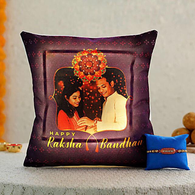 online rakhi with photo printed cushion