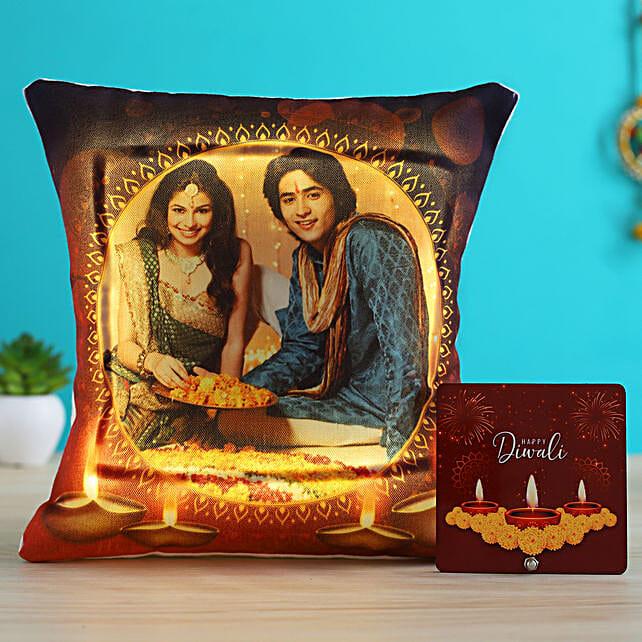 Personalised LED Diwali Cushion & Diya Table Top- Hand Delivery