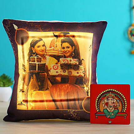 Personalised LED Diwali Cushion & Ganesha Table Top- Hand Delivery