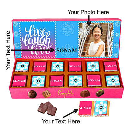 Personalised Live Laugh Love Chocolates For Her:Personalised Chocolates Gift For Birthday