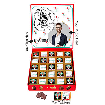 Personalised Live Laugh Love Chocolates For Him:Personalised Chocolates for Birthday
