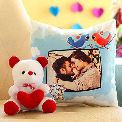 Photo Cushion and Teddy Combo Online
