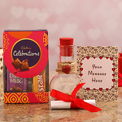 personalised love message bottle with chocolate