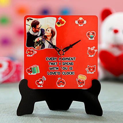 valentine special photo printed table clock for him