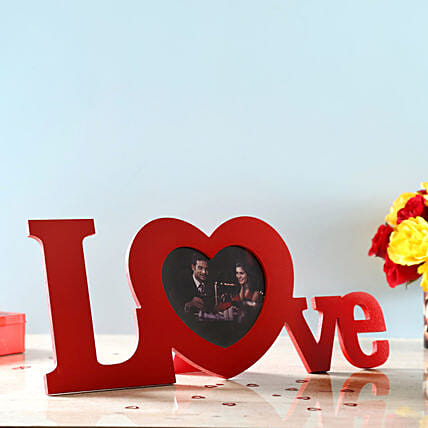 love with heart shape photo frame