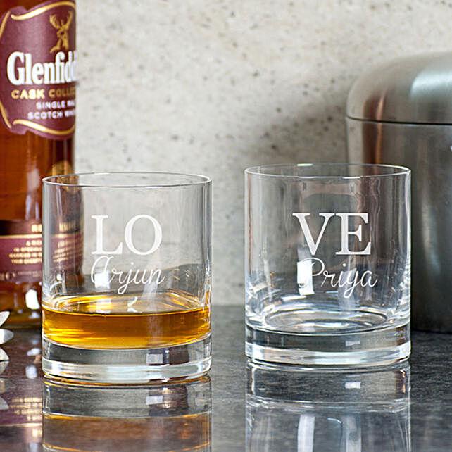 Customised Love Whiskey Glasses Online