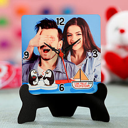 photo printed table clock for valentine special:Send Gifts for Hug Day
