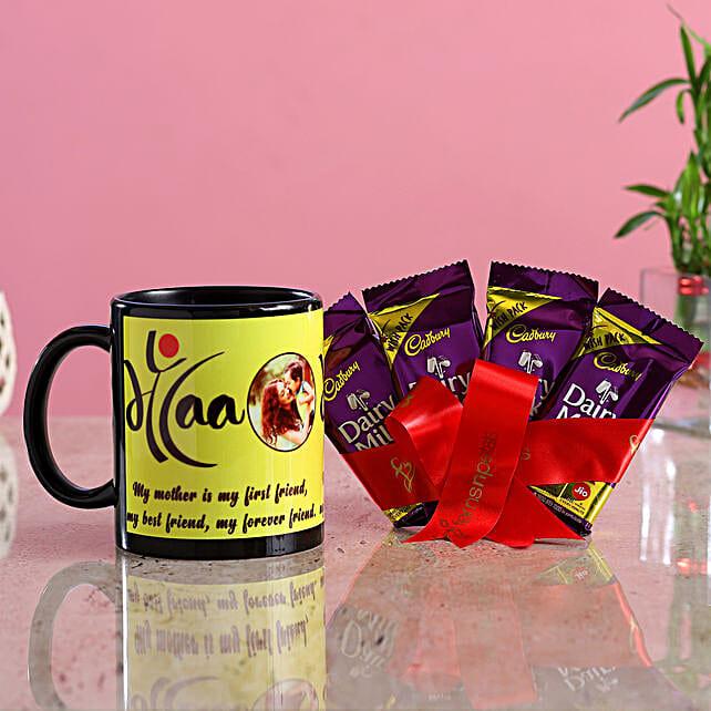 Personalised Maa Mug Dairy Milk Hand Delivery