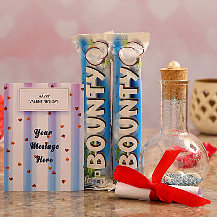 Personalised Message In Bottle & Bounty Chocolates Online