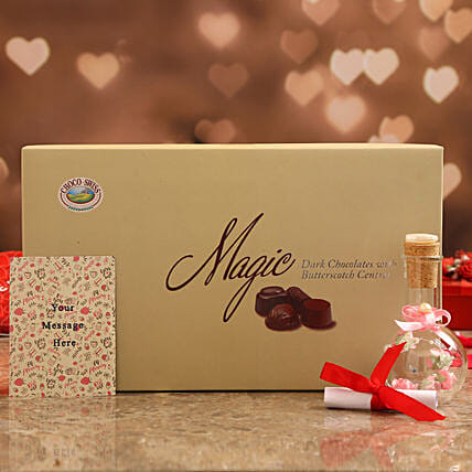Personalised Message In Pink Bottle & Choco Swiss Magic Online