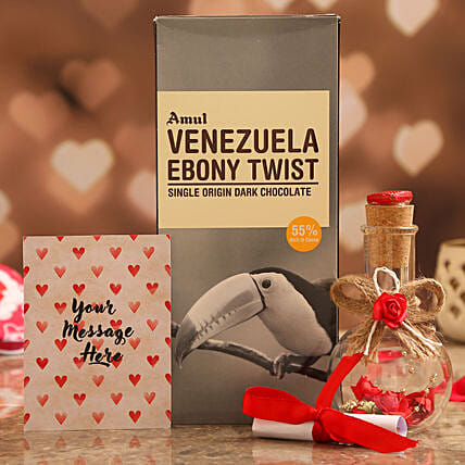 Personalised Message Love Bottle & Amul Chocolate Bar Online