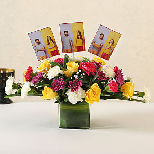 Online Customised Mixed Flowers Vase Arrangement:Flower Arrangement In Vase