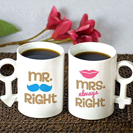 Personalised Mr & Mrs Right Mug Set