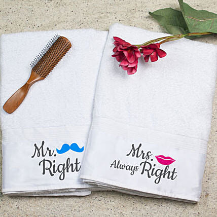 Personalised Mr Mrs Right Towel Set
