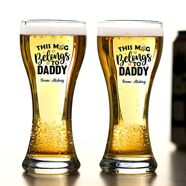 Personalised Mug Belongs To Daddy Beer Glass Set Of 2