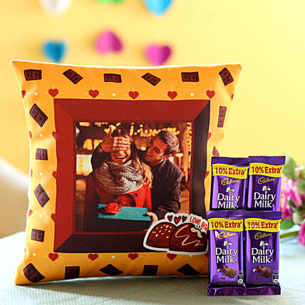 Photo Cushion and Chocolate For Valentine Day