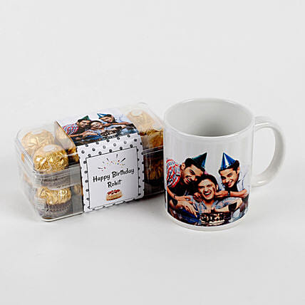 Combo Coffee mug with Chocolate:Personalised Chocolates for Wife