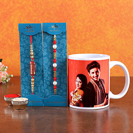 Send Personalised Mug with 2 Rakhi Set Online