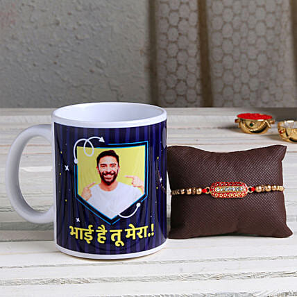 Online Personalised Mug and Capsule Rakhi Combo:Send Rakhi with Mugs
