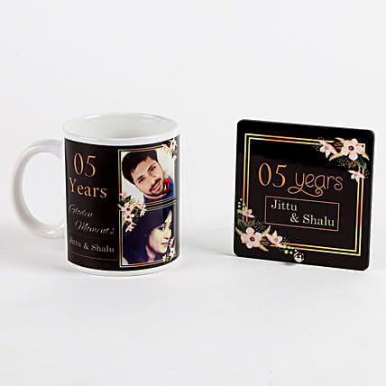 printed mug and table top for anniversary