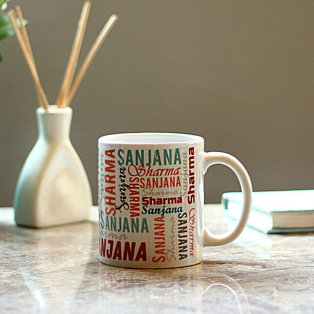 name printed mug
