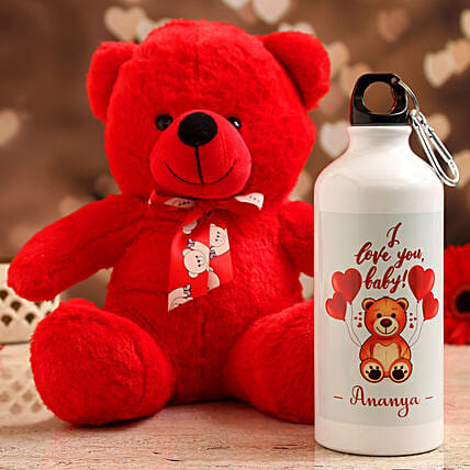 personalised water bottle with red teddy for teddy day:Send Valentines Day Soft toys