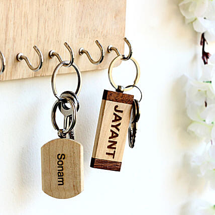 wooden printed key chain