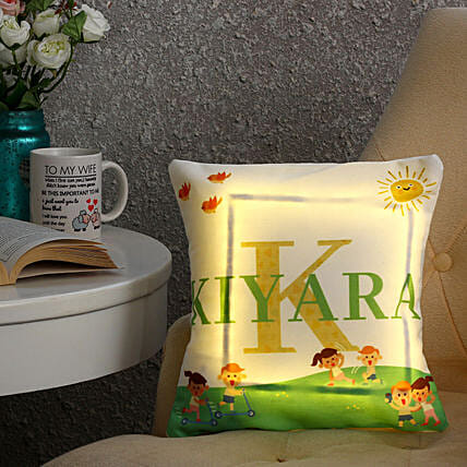 printed led cushion online:Personalised Cushions for Bhai Dooj