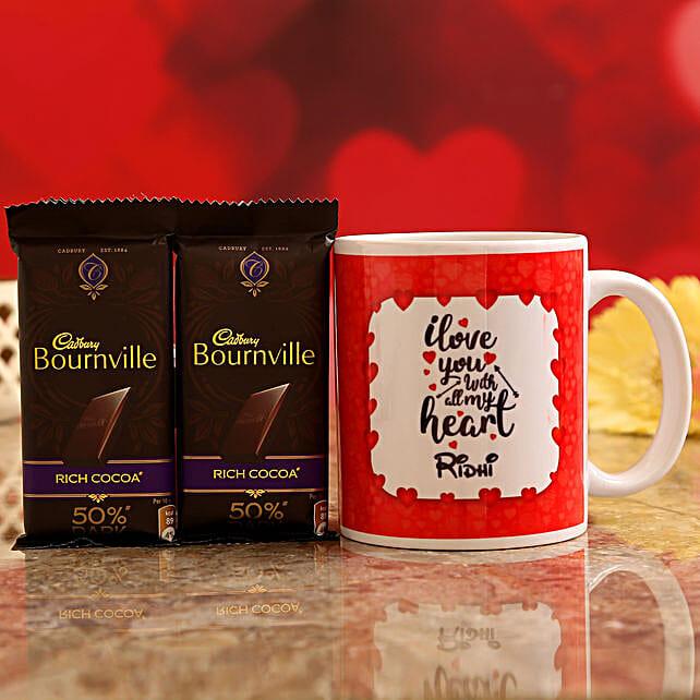 Customised Name Mug and Cadbury Bournville Chocolates