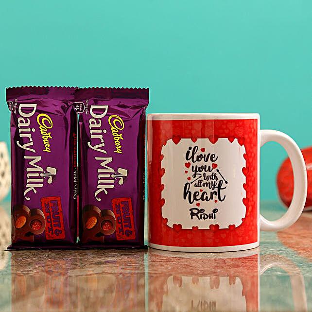 Customised Name Mug and Cadbury Fruit n Nuts Chocolates