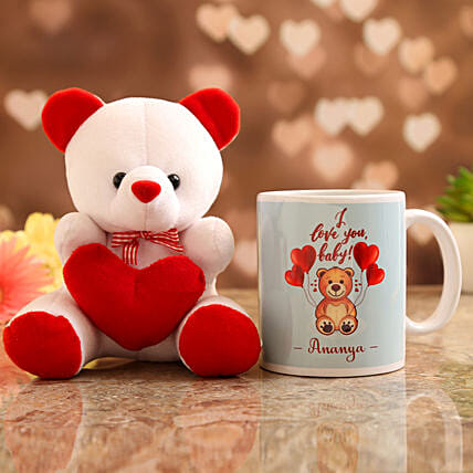 Customised Name Mug and  Teddy:Personalised Gifts Combo for Valentine's Day