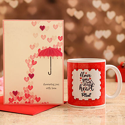 Customised Name Mug and Love Umbrella Card