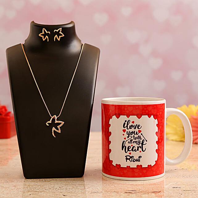 Customised Name Mug and Pretty Necklace Set