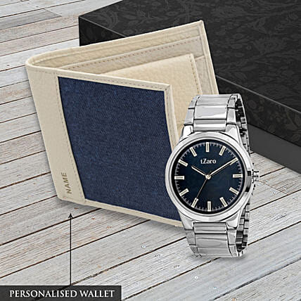 leather wallet n watch personalised combo