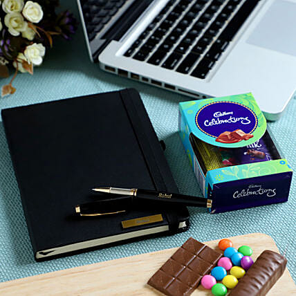 Online Personalised Notebook and Chocolate Combo:Send Personalised Pens