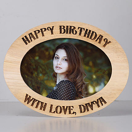 oval shape One Personalised Wooden photo frame for birthday:Personalised Engraved