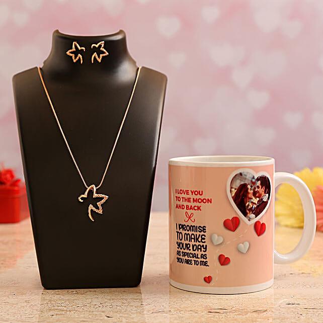 Customised Photo Mug and Pretty Necklace Set
