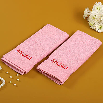 Personalised Pink Cotton Towel Pack Of 2