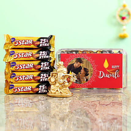 Pink Diwali Box With Golden Ganesha Idol & Cadbury 5 Star Combo
