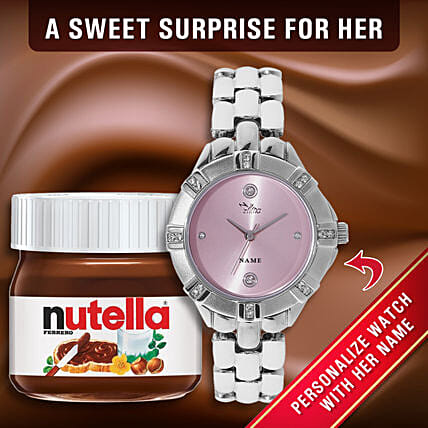 Personalised Pink Ladies Watch Nutella